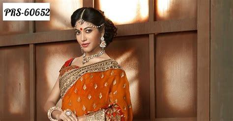 Dress Shj 179 beautiful orange wear designer saree