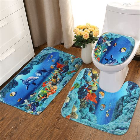 Dolphin Bathroom Rugs Ebluejay An Dolphin Bathroom Carpet Set Pedestal