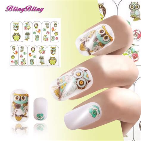 Nail Wrap Water Decal Sticker For Nail Stiker Kuku 9 2 sheet owl nail sticker decal nails wraps water
