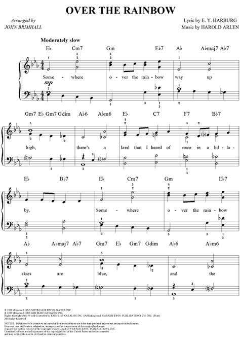 tutorial piano over the rainbow over the rainbow sheet music by harold arlen sheet music