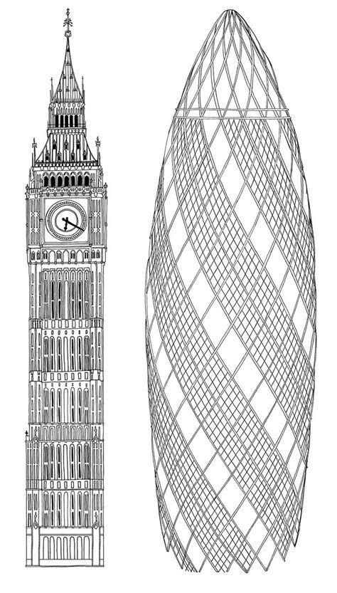 Drawing Big crabtree and the gherkin and big ben illustration
