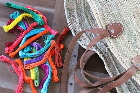 ideas diy customizar bolsos o capazos o da dmc passo a passo para decorar um cesto borlas
