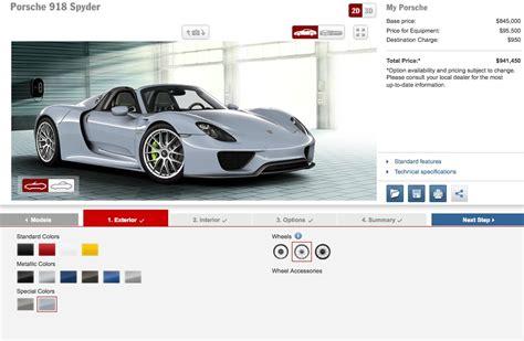 Porsche 918 Configurator by Porsche 918 Spyder Configurator How To Spend 1m