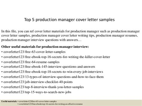 Production Manager Cover Letter Top 5 Production Manager Cover Letter Sles