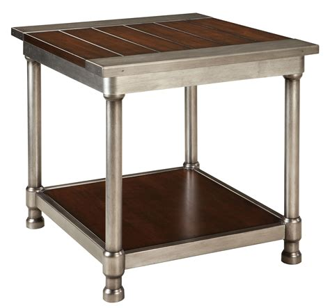 metal end table contemporary single shelf end table with plank style wood