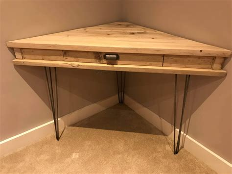 Pine Corner Desks Reclaimed Rustic Solid Pine Corner Box Desk With Drawer And Metal Hairpin Legs Newco Interiors