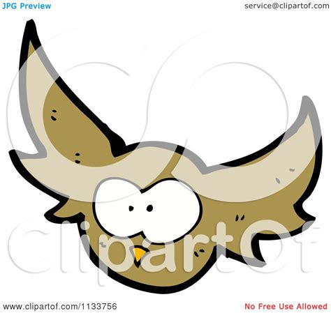 flying owl clipart of a flying brown owl royalty free vector