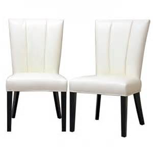 White Chair Dining Set Janvier White Leather Dining Chair Set Of 2