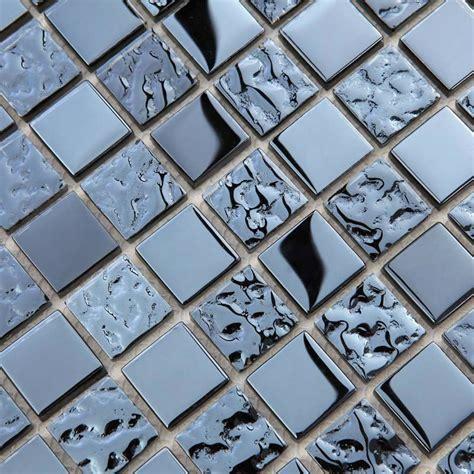 metallic mosaic bathroom tiles metallic mosaic tile mirror brushed black kitchen