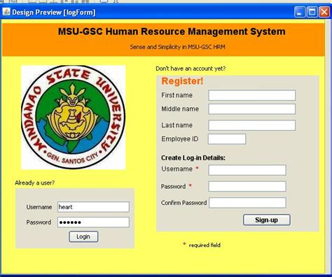 design of management information system interface design first part msu gsc human resource