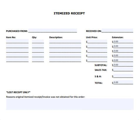 itemized receipt template 9 itemized receipt templates sles exles format