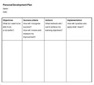 Template For A Personal Development Plan by Sle Personal Development Plan Template 6 Free Sle