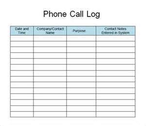Call Register Template by Sle Call Log Template 11 Free Documents In Pdf Word