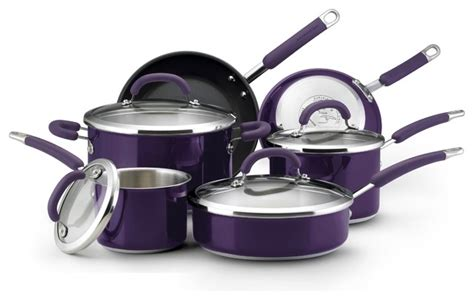 Kitchen Cookware Sets by Rachael Eggplant Stainless Steel 10 Cookware Set