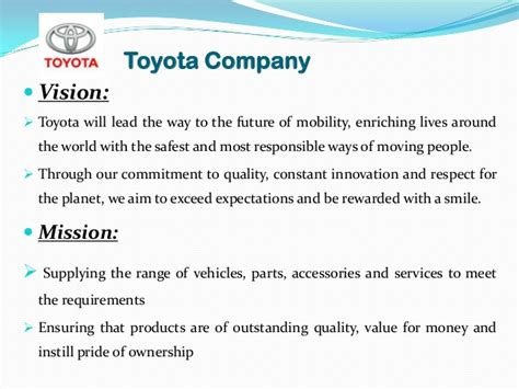 toyota of mission vision and mission of companies