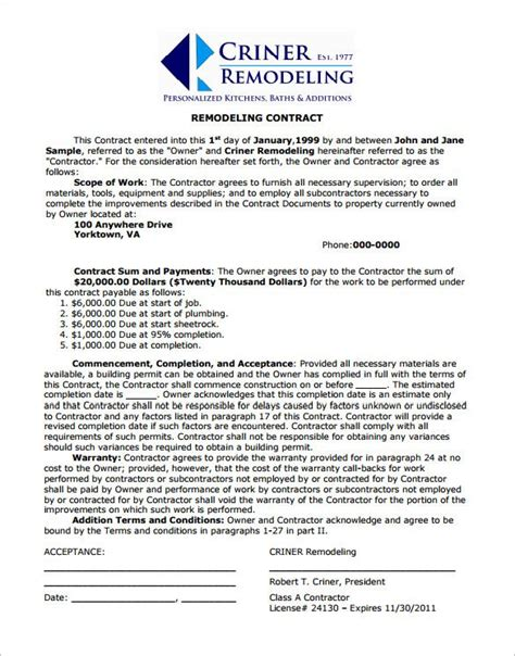 Home Remodeling Contract Template 7 Free Word Pdf Documents Download Free Templates Cabinet Installation Contract Template