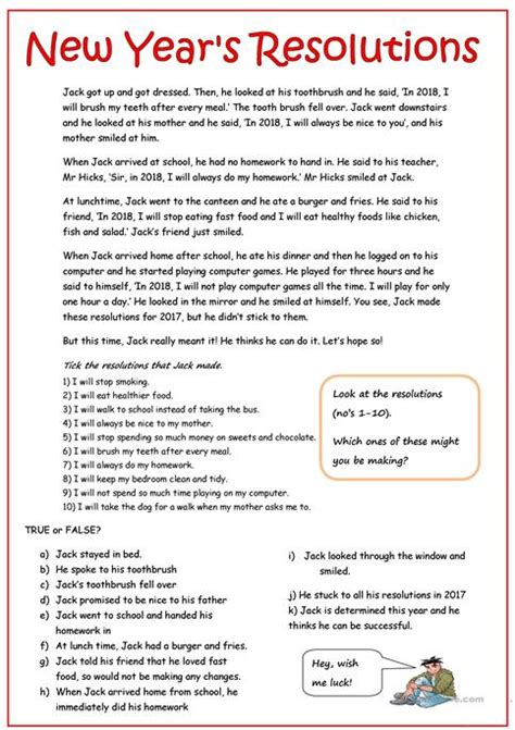 new year comprehension activities new year resolutions worksheet facialreviveserum