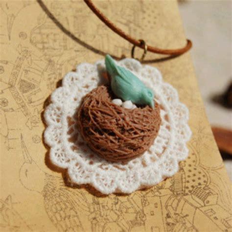 Kalung Fashion Lace Bird Nest Necklace aliexpress buy original zakka style lace resin bird nest necklaces pendants for