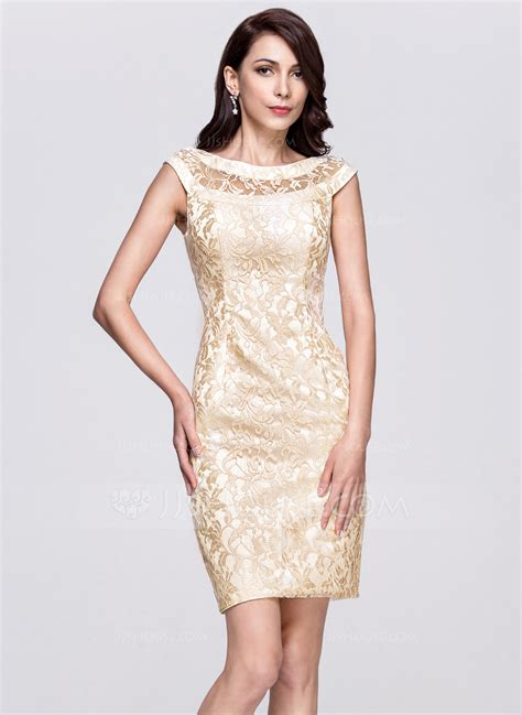 Red And Brown Wedding Decorations Sheath Column Scoop Neck Knee Length Lace Cocktail Dress