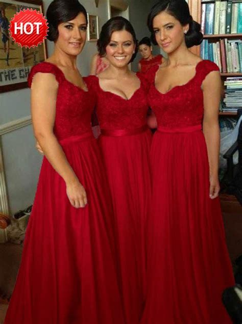 A Line Scoop Cap Sleeves Dark Red Bridesmaid Dress with