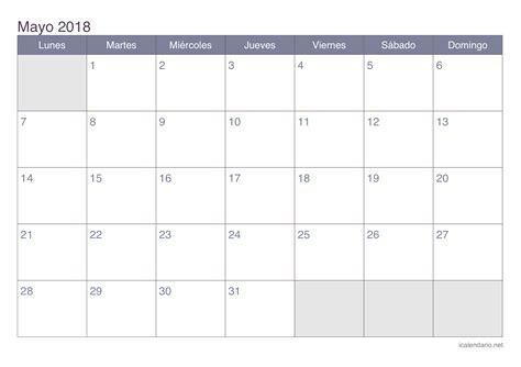 Calendario Aã O 2018 Calendario Mayo 2018 Para Imprimir Icalendario Net