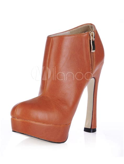 light brown ankle boots light brown platform pu womens high heel ankle boots