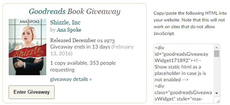 Giveaway Codes - how to make goodreads giveaway widget work on wordpress com ana spoke author