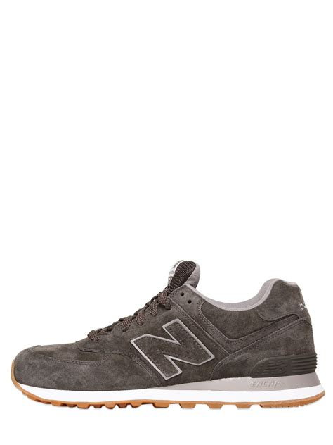 grey sneakers new balance 574 suede sneakers in gray grey lyst
