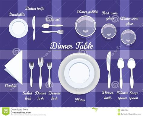 Cutlery on Dining Table stock vector. Image of knife