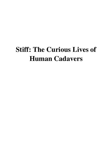 Stiff PDF - Mary Roach The Curious Lives of Human Cadavers