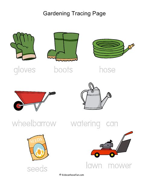 Gardening Worksheets Gardening Tracing Worksheet Summer Activities For