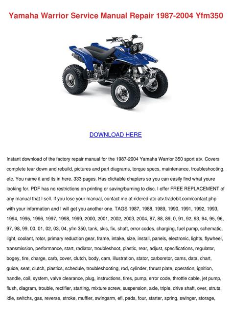 Yamaha Warrior Service Manual Repair 1987 200 By Jacelyn