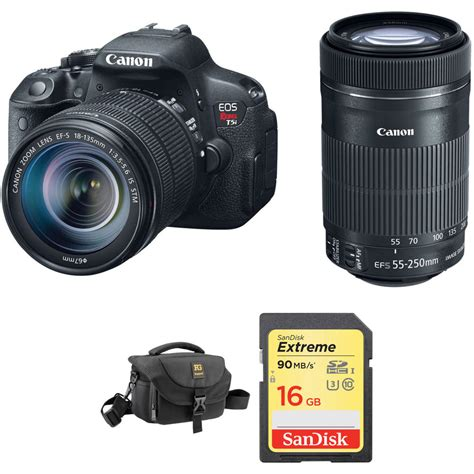 canon t5i dslr canon eos rebel t5i dslr with 18 135mm and 55 250mm b h