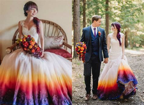 wedding in a tie dye wedding gown must to fill colors