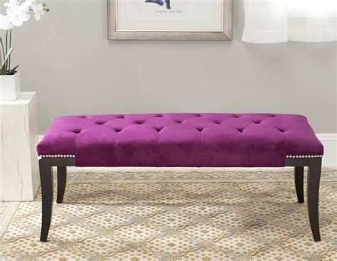 purple upholstered bench safavieh florence purple tufted nailhead bench contemporary upholstered benches