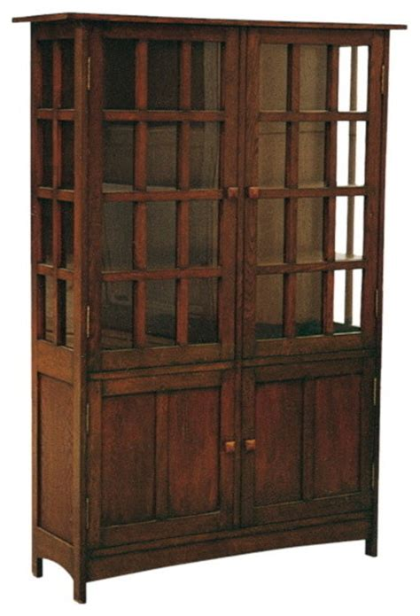 arts and crafts mission solid oak china cabinet china