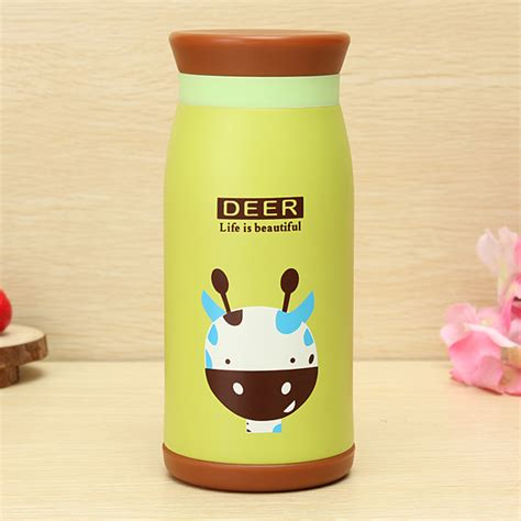 Animal Stainless Vacuum Flask Thermos Size 350ml animals vacuum flasks insulated mug 350ml green