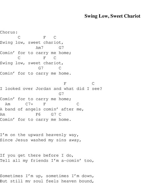 swing low lyrics swing low sweet chariot christian gospel song lyrics