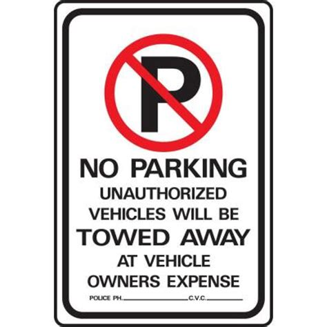 no parking signs home depot lynch sign 12 in x 18 in on