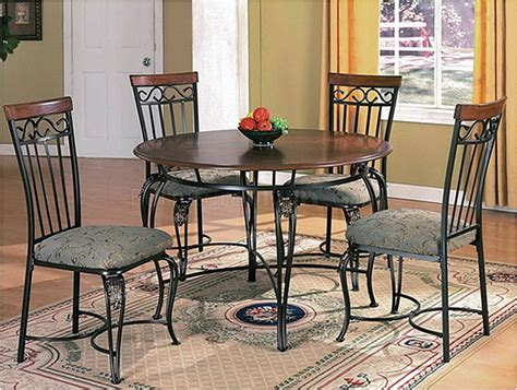 Metal Dining Table Chairs Wood Top Metal Base Classic Dining Table W Optional Chairs