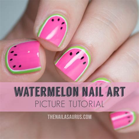 nail art design tutorial painting watermelon nail art tutorial the nailasaurus uk nail