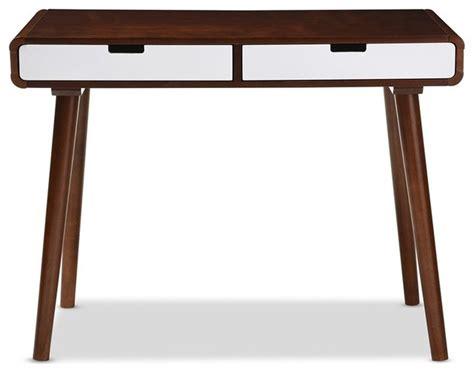 wood zarek mid century style desk dark walnut and white 2 tone finish 2 wood writing