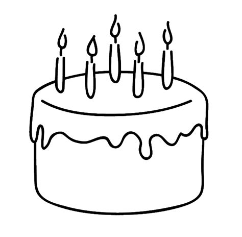 easy birthday coloring pages birthday cake that is simple and attractive coloring page