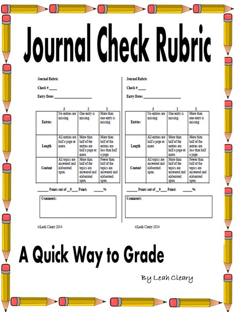 pattern writing book reports and journals journal check rubric middle school teachers rubrics and