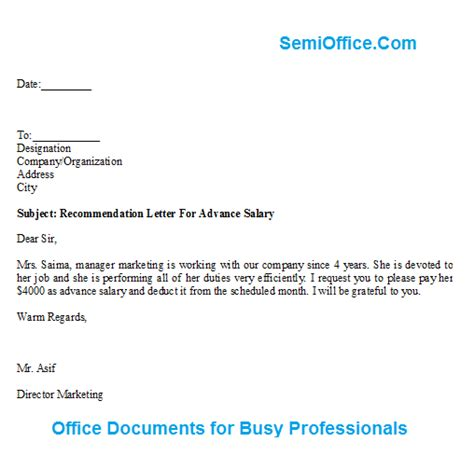 Salary Advance Request Letter Sle letter of recommendation for advance salary