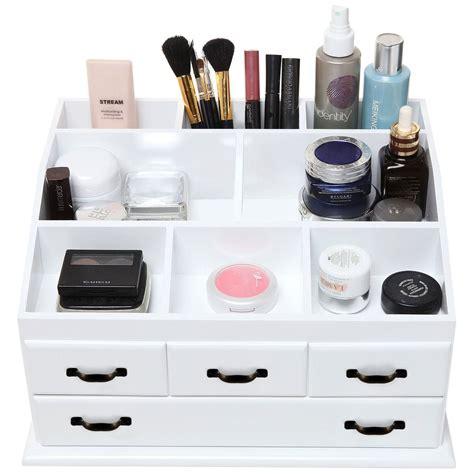 makeup holder cosmetic organizer wooden make up 4 drawers holder