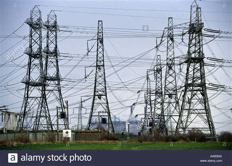 high voltage ontario high voltage power cables and pylons crossing the