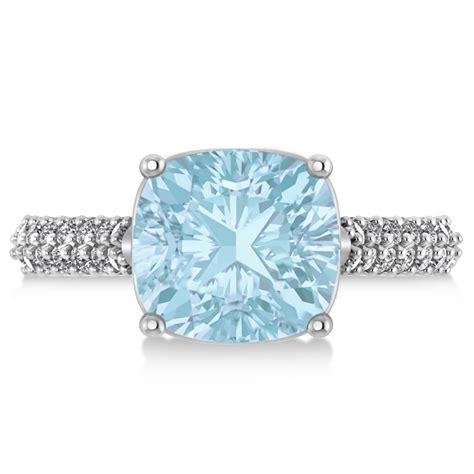 cushion cut aquamarine engagement ring 14k white