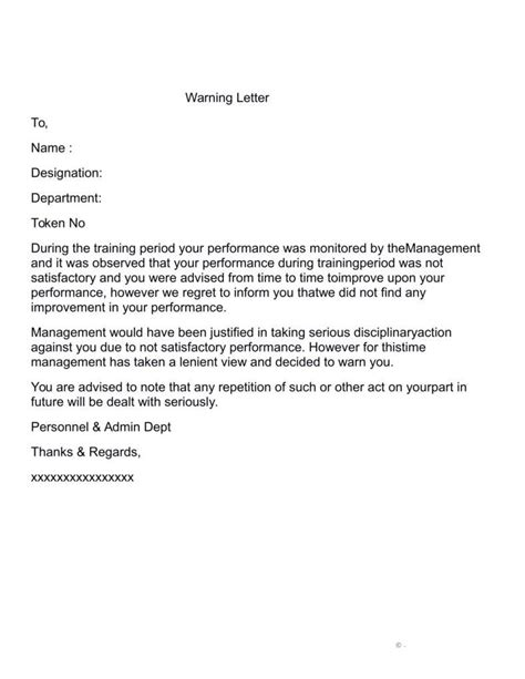 Performance Appraisal Warning Letter warning letter for poor performance letters free