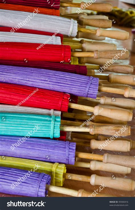 Handmade In Thailand - handmade umbrella in thailand stock photo 95900416